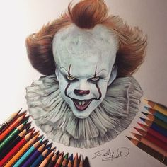 Beautiful colored pencil work by Emre Aydın dibujos realistas Creepy Drawings, Pencil Art Drawings, Art Drawings Sketches, Cartoon Drawings, Arte Horror, Horror Art, Clown Paintings, Halloween Arts And Crafts, Pennywise The Dancing Clown