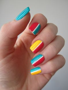 Charming Multicolor Simple Nail Art Designs for 2019 Still choose one nail polish shade to paint your nails? Nails with a different color Trendy Nail Art, Easy Nail Art, Cool Nail Art, Es Nails, Hair And Nails, Garra, Color Block Nails, Geometric Nail Art, Striped Nails