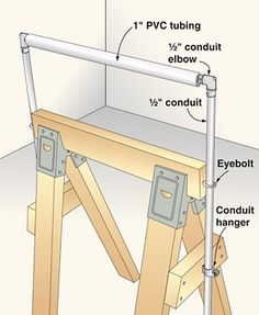 """Add an adjustable outfeed roller to your sawhorse made with 1/2"""" conduit and 1"""" pvc pipe"""