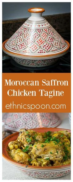Morocccan saffron chicken is a really exotic yet easy one pot meal that can be made in a tagine or slow cooker. Morrocan Food, Moroccan Dishes, Moroccan Recipes, Turkey Recipes, Chicken Recipes, Recipes Dinner, Saffron Chicken, Tagine Cooking, Saffron Recipes