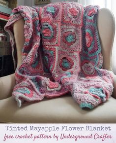 This show-stopping motif blanket features mayapple flowers. Sprightly Spectrum Worsted, a self-striping yarn, does all the colorwork for you, so there are fewer ends to weave in. Slip Stitch Crochet, Basic Crochet Stitches, Crochet Basics, Crochet Round, Single Crochet, Free Crochet, Double Crochet, Crochet Lovey, Crochet Granny
