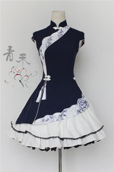 UPDATE: the ~Navy Blue~ sample dress of QingHe +~Flowers Blooming~+ Qi Lolita Dress is now available for viewing >>> www.my-lolita-dre… Pretty Outfits, Pretty Dresses, Beautiful Dresses, Cool Outfits, Kawaii Fashion, Cute Fashion, Trendy Fashion, Style Fashion, Japanese Fashion