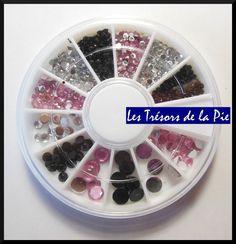 STRASS CRISTAL 3D ONGLES - Nail art - RONDS - 1, 2, 3 & 5mm - Argenté noir rose
