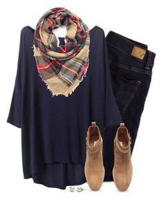 """Loose tee, plaid scarf & camel ankle boots"" by steffiestaffie ❤ liked on Polyvore featuring American Eagle Outfitters and H&M"