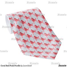 Shop Coral Red Posh Poodle Neck Tie created by LeonOziel. Custom Ties, Unique Image, Poodle, Night Out, Coral, Red, Gifts, Design, Presents