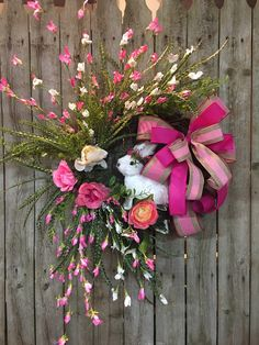 Spring wreaths for front door, Front door Spring wreaths, Easter wreaths, Bunny wreath, Pink Spring wreath, Pink Easter wreath by DecoWreathBoutique on Etsy