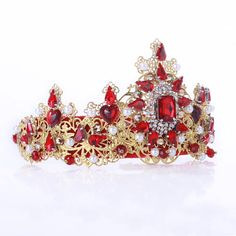 Red crown, Red tiara, dolce crown, thrones costume, medieval tiara, crown fascinator, swarovski, wedding tiara, gold red headpiecem baroque  Fantastic hair accessories for weddings, prom, parties or other special occasions.  - Handmade - Size: 7cm (2.7) high. - Tiara (open front the back) flexible. - **100% FULL MONEY BACK GUARANTEE** Unlike others sellers, WE STAND behind our brand ILoveCrowns and provide 100% FULL MONEY BACK guarantee, if, For Whatever Reason, You dont Absolutly Love your…