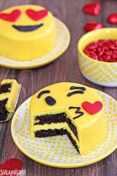 Emoji Cakes - mini chocolate cakes with emoji designs! | From SugarHero.com