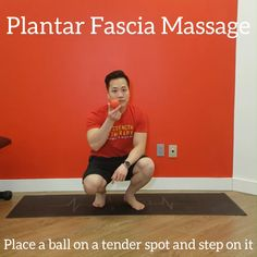 This self massage exercises uses a massage ball to relieve tension and pain built up in your plantar fascia. You can use a golf ball or frozen water bottle instead as well. Check out the link for more free exercises and content Ankle Mobility Exercises, Stretches, Workout Guide, Workout Videos, Couch Workout, Plantar Fasciitis Exercises, Stretching Program, Muscle Knots, Physical Therapy Exercises