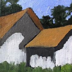 """Daily Paintworks - """"Miniature Impressionist California Plein Air"""" - Original Fine Art for Sale - © lynne french Red Barn Painting, Painting Corner, Building Painting, Modern Art Paintings, Oil Paintings, Barn Art, Cottage Art, Rustic Art, Diy Canvas Art"""
