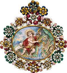 ALBION ART Historical Jewelry -  Gold, diamonds, enamel pendant, 17th century, Sicily made or Spain.