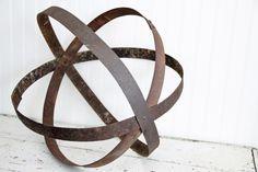 French Metal Garden Orb-Repurposed wine barrel rings