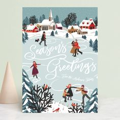 """""""Winter Skate"""" - Holiday Cards in Frost by NutMeg Ink. Holiday Photo Cards, Holiday Photos, Xmas Cards, Christmas Design, Christmas Art, Vintage Wreath, Christmas Graphics, Photo Layouts, Holiday Themes"""