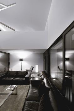 Interior lighting without fixtures. White light for black/white interior motif.