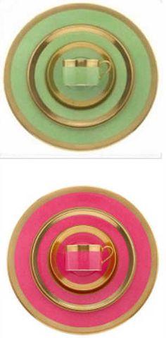 Pink and green William Yeoward fine china
