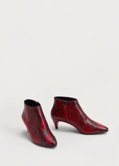 Snake leather ankle boots | MANGO