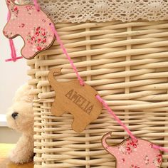 Very cute elephants. Personalised new baby girl wooden bunting by neltempo | notonthehighstreet.com