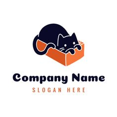 Logo du projet Blue Cat i Orange Box - logo-zoo - mes chats Graphic Design Projects, Graphic Design Inspiration, Custom Logo Design, Custom Logos, Orange Box, Coffee Logo, Coffee Shop, Cat Hotel, Online Logo