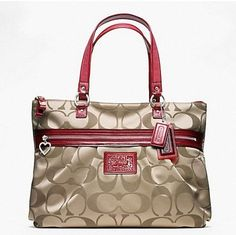 Coach Daisy Signature Tote Glam Handbag Purse 20026 Khaki Red