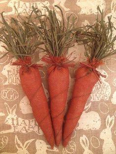 Primitive Handmade Easter Spring Burlap Carrot Raffia Rusty Wire Bowl Filler NEW #NaivePrimitive #Handmade
