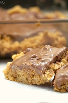 No bake recipe for scotcheroos using rice krispies or cheerios and ooey gooey goodness. SO addictive.
