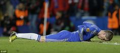 Dejection: Chelsea's Fernando Torres reacts after missing a chance.  He is playing well with a few shots on target but luck is not in his site.