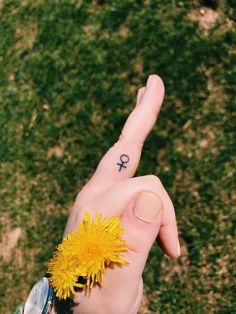 girl power small stick and poke tattoo finger feminist