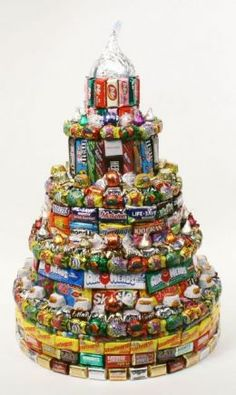 Candy Cakes. These cakes are just made up of Candy, still in their wrappers, from Top to Bottom.    It does not take much to create one of these Candy Cakes, just a whole bunch of your favorites candies, a Base and some fun Building and Stacking Skills. Ok and maybe some glue to hold it together.