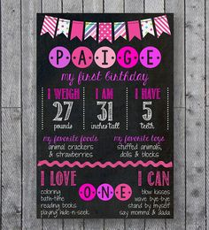 Girly First Birthday Chalkboard // Birthday Chalkboard Sign // Pink & Purple on Etsy
