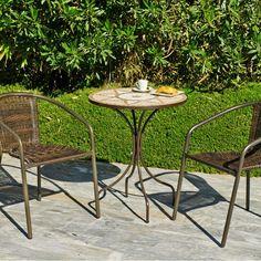 Table ronde ø 60cm en Bronze/Mosaïque VARESE60 - Maison Facile : www.maison-facile.com