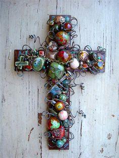 Large Rusty Iron Wall Cross with Patina Ceramic Beads