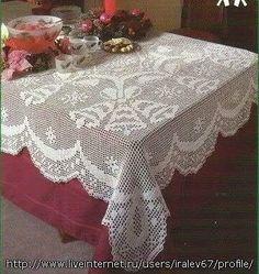 Christmas filet crochet tablecloth