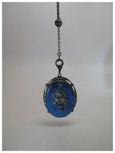 Diellza's necklace -Blue Agate and Marcasite in sterling silver, Germany circa 1910