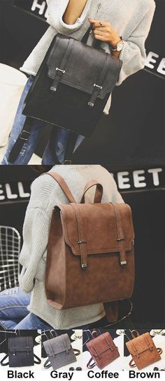 Retro Brown Metal Lock Match Large Scrub High School Bag Matte Square PU  Backpack for big sale! ea3a375cff171