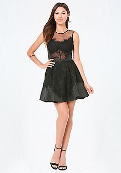 Heidi+Lace+Flared+Dress