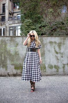 skirt Dress: Lisa Marie Fernandez ( also love this gingham dress ). Shoes: Tibi , and here ( also got these ). Bag: Mansur Gavriel . Belt: Isabel Marant . Lips: Stila . Sunglasses: Karen Walker .
