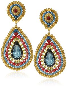 Amazon.com: Miguel Ases Rubelite Swarovski Teardrop Multi-Colored Drop Earrings: Jewelry