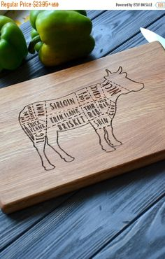 ON SALE Butchers Cow Cutting Board Meat Farmer Chopping board Christmas gift Housewarming gift