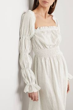 Sleeper Michelin Off-the-Shoulder Shirred Polka-Dot Linen Midi Dress Dress Outfits, Fashion Dresses, Dress Up, Diy Fashion, Pyjamas, Smocks, Robes Midi, Best Summer Dresses, Shirred Dress