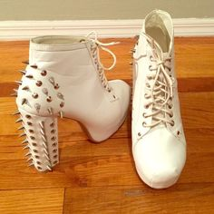 White Spike Shoes Lita Jeffrey Campbell inspired shoes only worn about 3x (at most) for a short period of time. No defects or spikes missing. I don't have the original box (the store gave an AWFUL damaged box so I threw it away), I'll send them in a rain boot box.- lowest price $25 Jeffrey Campbell Shoes Heeled Boots