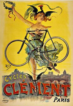 7f1f2eafb9c Advertising poster for bicycles showing a woman wearing a Gallic rooster on  her head and carrying a laurel wreath in one hand and a bicycle her other  hand ...