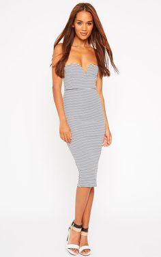 Zenda Stripe Bandeau Midi Dress £15.00 #PLTSummerStyleMe