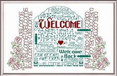 Lets Welcome 'Words' cross stitch pattern designed by Ursula Michael,