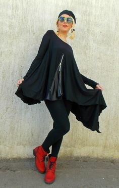 Black Asymmetric Tunic / Black Tunic / Loose Tunic with Leather Inset TT44