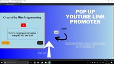 Pop up banner( youtube link promotion) using HTML,CSS and JavaScript(jQu... Pop Up Banner, Html Css, Promotion, Coding, Link, Youtube, Youtubers, Programming, Youtube Movies