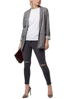 Sharp tailoring and salt-and-pepper coloring distinguish this borrowed-from-the-boys topshop open-front jacket cut from cotton-blend twill in a cool jersey knit.
