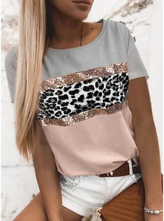 Types Of Sleeves, Short Sleeves, Long Sleeve, Leopard Fashion, Types Of Collars, Casual T Shirts, Printed Shorts, Summer Outfits, Summer Clothes