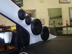 Custom speaker install into the vehicle's 'A' pillar.