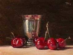 Julian Merrow-Smith, Cherries and silver goblet Daily Painters, Still Life Art, Cherries, Silver, Provence, Flower Paintings, Instagram, Board, Copper