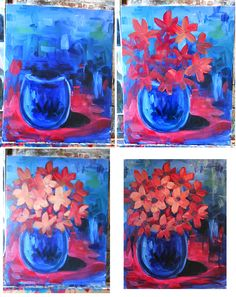 Orange pink flowers Bouquet step by step beginners painting.
